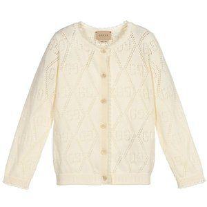 Ivory White Perforated GG Logo Cardigan Sweater